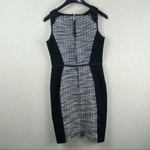 Loft tweed and lace mix media sleeveless dress